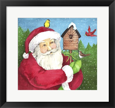 Framed Santa Log Birdhouse Print