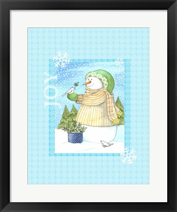 Framed Snowman Doves Print