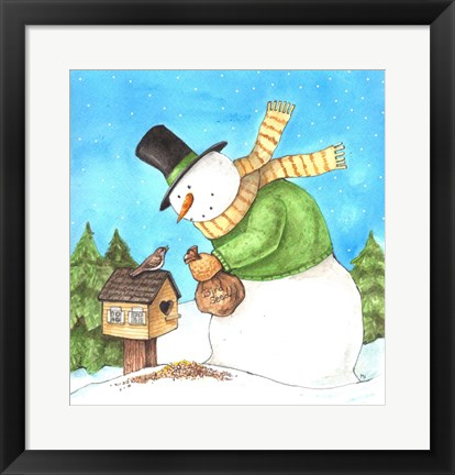 Framed Snowman Green Bird Print