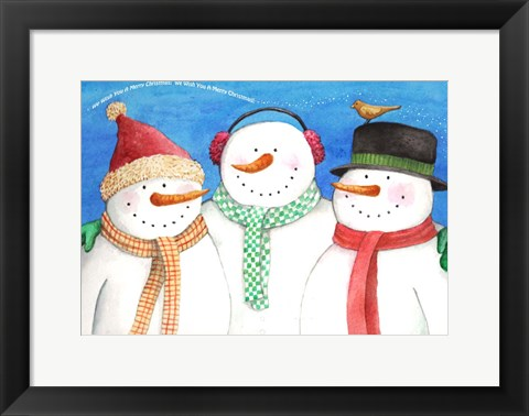 Framed Three Snowmen Sing Print