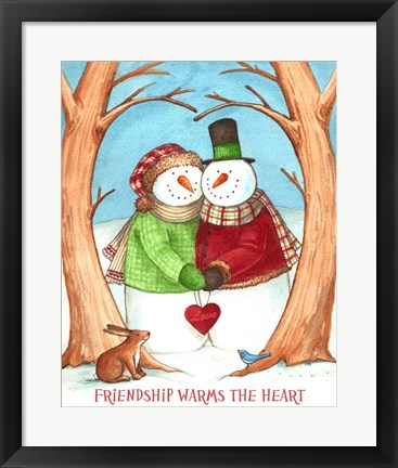 Framed Snowman Tree Heart Share Print