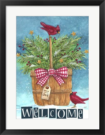 Framed Cardinal Welcome Joy Print