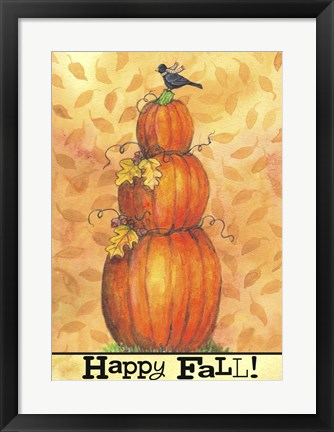 Framed Pumpkins Happy Fall Print