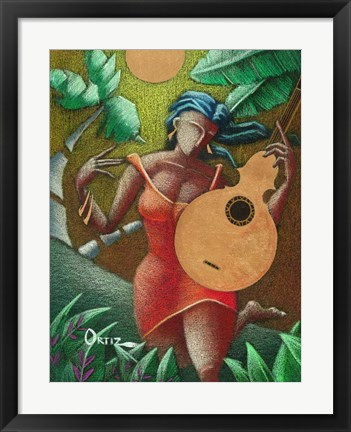 Framed Woman with Guitar Print