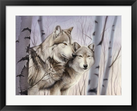 Framed Two Wolves In The Birches Print