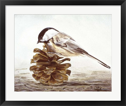 Framed Black - Capped Chickadee Print