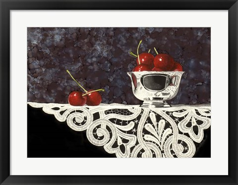 Framed Bowl Of Cherries With Lace Print