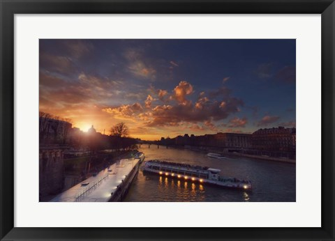Framed Bateaux Mouches Sunset Print