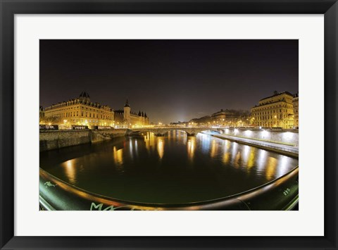 Framed Paris Night Brige II Print