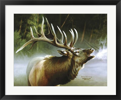 Framed Elk In Mist Print