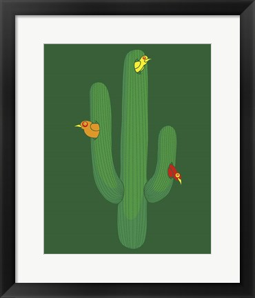 Framed Birds in a Cactus Print