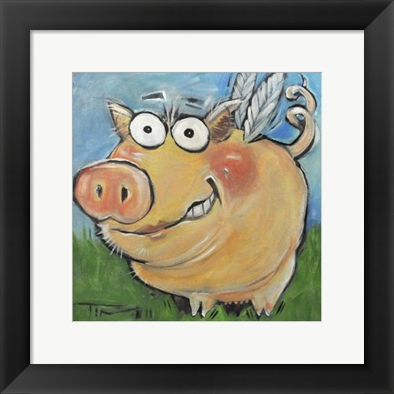 Framed Hovering Pig Print