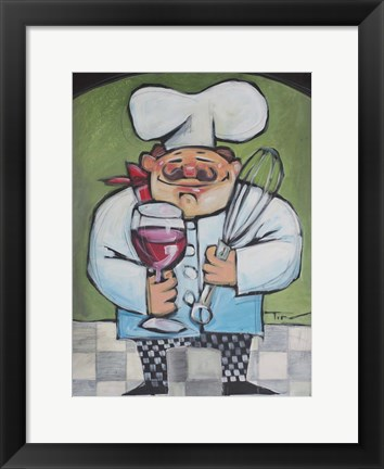 Framed Chef With Wine And Wisk Print
