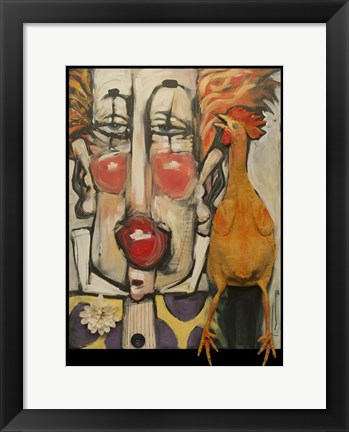 Framed Clown And Rubber Chicken Print
