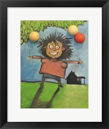 Framed Girl With Balloons Print