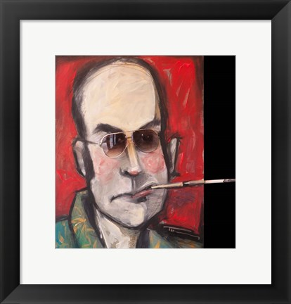 Framed Hunter S Thompson With Cig Black Print