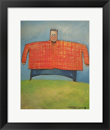 Framed Man In Orange Plaid Print