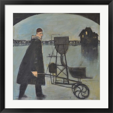 Framed Man Walking Machine On Beach 2 Print