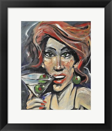 Framed Woman With Martini Print