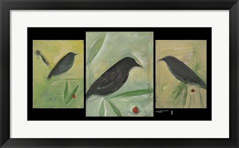 Framed Birds And Berries Triptych Print