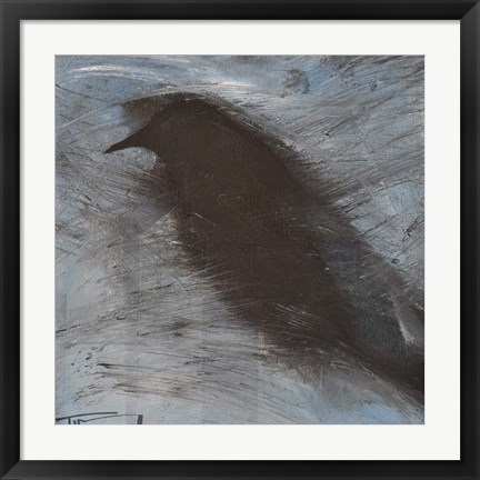 Framed Blackbird In Wind Print