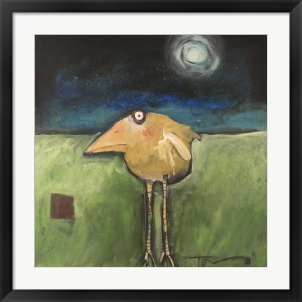 Framed Yellow Bird In Moonlight Print