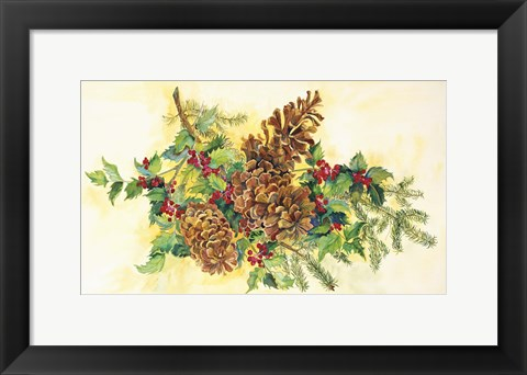 Framed Holly And Pine Cones Print