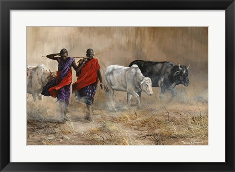 Framed Dusty Cattle Drive Print