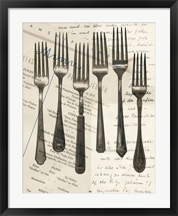 Framed Cutlery Forks in Sepia Print