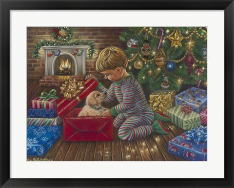 Framed Golden Christmas Print