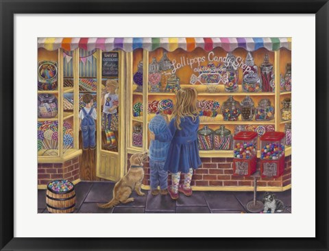 Framed Lollipop Candy Shop Print