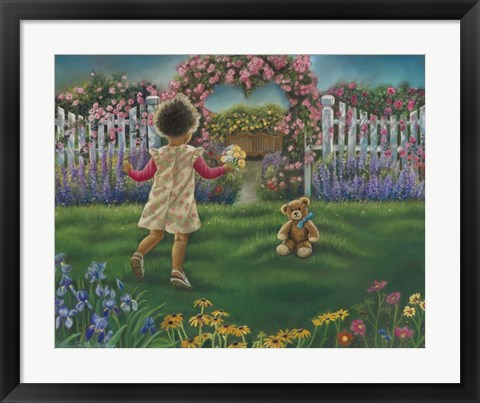 Framed Flowers For Teddy Print