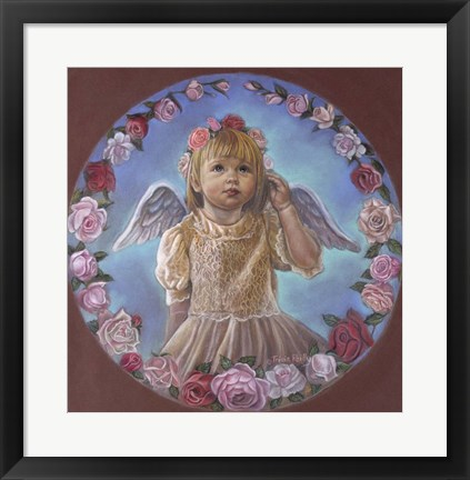 Framed Angel Of Roses Print