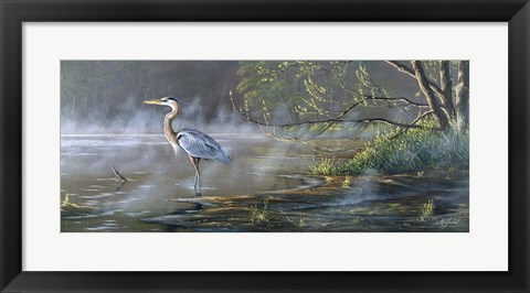 Framed Quiet Cove - Great Blue Heron Print