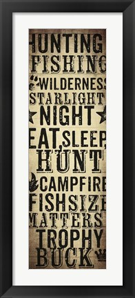 Framed Hunting and Fishing Typography I Print