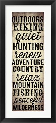 Framed Hunting and Fishing Typography II Print