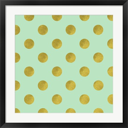 Framed Golden Mint Dots Print