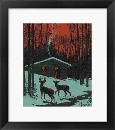 Framed Winter Cabin Print