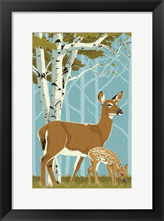 Framed Deer with Fawn Print
