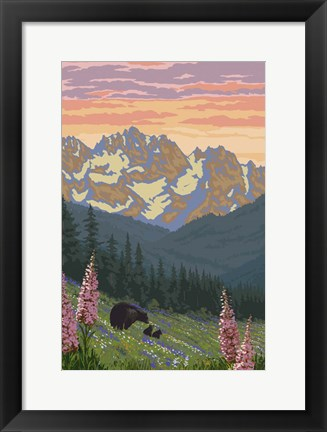 Framed Black Bear with Cubs 2 Print
