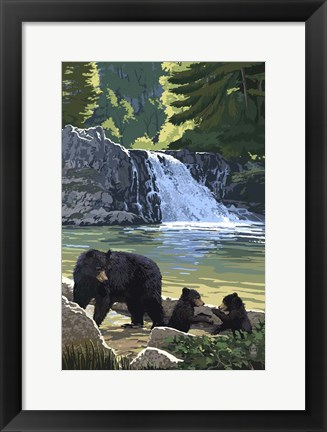 Framed Black Bear with Cubs 3 Print