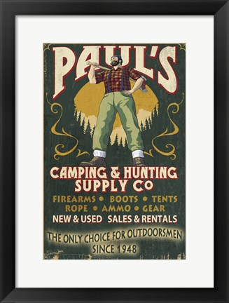 Framed Paul's Camping & Hunting Supply Co. Print
