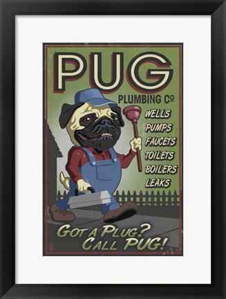 Framed Pug Plumbing Co. Print