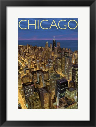 Framed Chicago Night Print