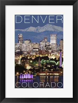 Framed Denver Night Print