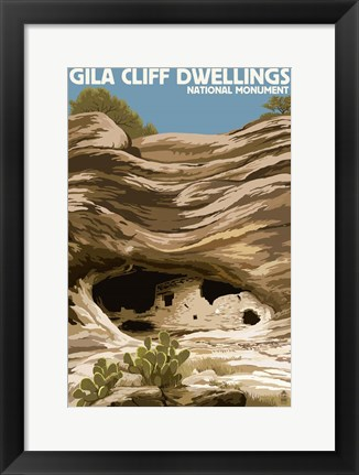 Framed Gila Cliff Dwellings Print