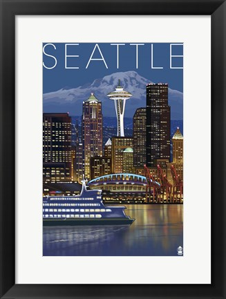Framed Seattle Night Print