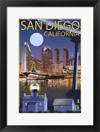 Framed San Diego Night Print