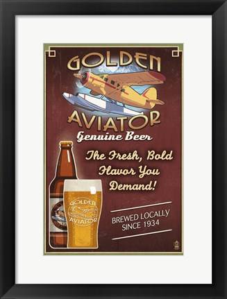 Framed Golden Aviator Print