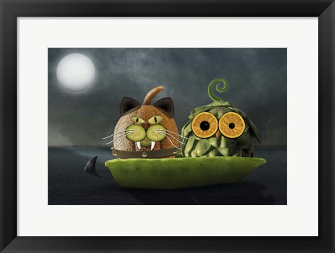 Framed Owl and Cat Print